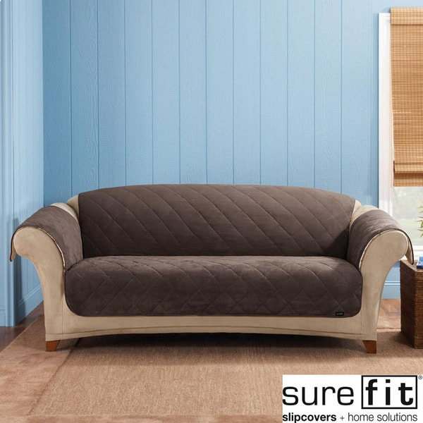Sure Fit Reversible Quilted/Sherpa Chocolate Sofa Cover