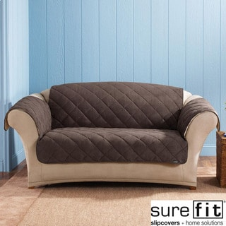Sure Fit Reversible Chocolate Suede Sherpa Loveseat Cover