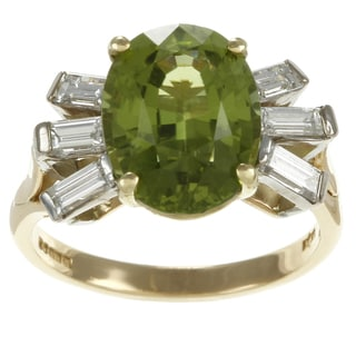 18k Yellow Gold Peridot and 1/3ct TDW Diamond Estate Ring (G-H, SI1-SI2)