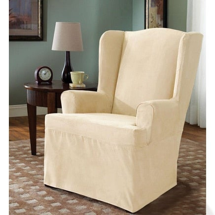 Beau Sure Fit Soft Suede Cream Wing Chair Cover