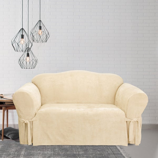 Shop Sure Fit Soft Suede Cream Loveseat Slipcover Free