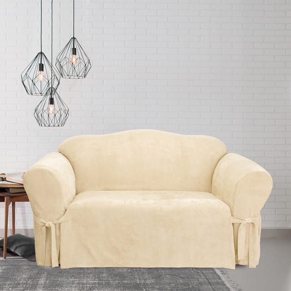Sensational Sure Fit Soft Suede Cream Loveseat Slipcover Gmtry Best Dining Table And Chair Ideas Images Gmtryco