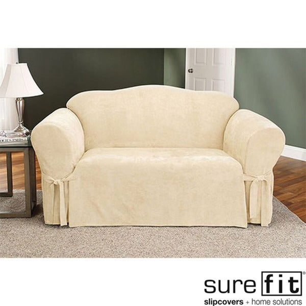 Sure Fit Soft Suede Cream Loveseat Slipcover 14982628
