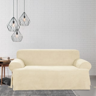 Sure Fit Soft Suede Cream T-cushion Sofa Slipcover