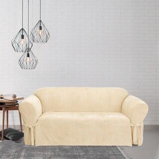 Sure Fit Soft Suede Cream Sofa Slipcover