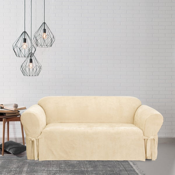 Shop Sure Fit Soft Suede Cream Sofa Slipcover On Sale Free