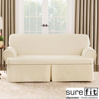 Sure Fit Natural Cord Sofa T-cushion Slipcover