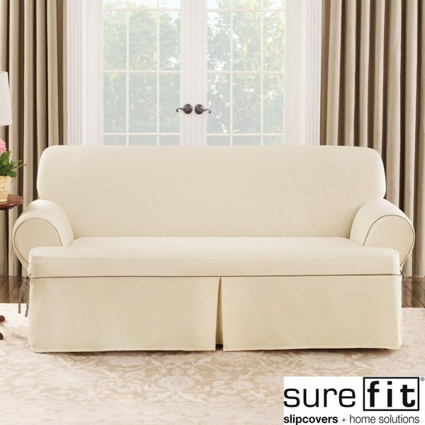 sure fit natural cord sofa t cushion slipcover free shipping today 14982617. Black Bedroom Furniture Sets. Home Design Ideas
