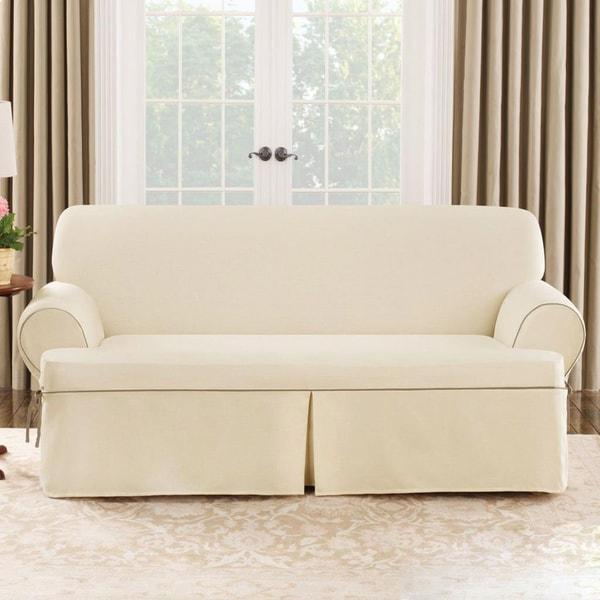 Shop Sure Fit Natural Cord Sofa T Cushion Slipcover Free