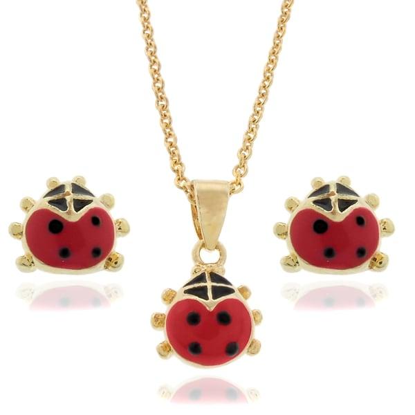 Molly and Emma 18k Gold Overlay Children's Enamel Ladybug Jewelry Set