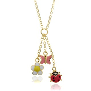 Molly and Emma 18k Gold Overlay Children's Enamel Charm Necklace