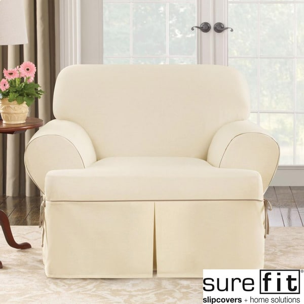 Sure Fit Contrast Cord Natural Chair T Cushion Slipcover