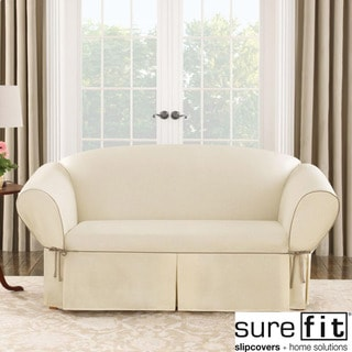 Sure Fit Contrast Cord Duck Natural Loveseat Slipcover