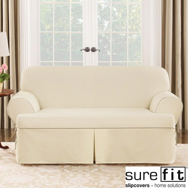 Sure fit contrast cord duck natural t cushion loveseat slipcover free shipping today Loveseat t cushion slipcovers