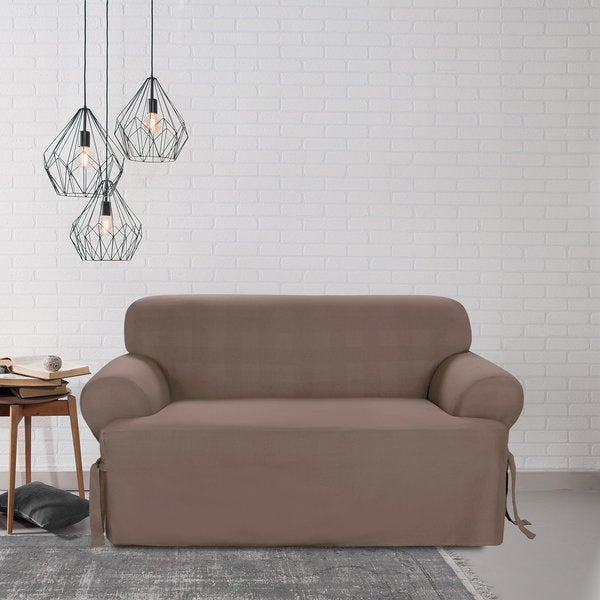 Shop Sure Fit Cocoa Loveseat T Cushion Slipcover Free