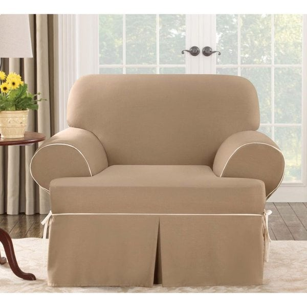Sure Fit Contrast Cord Duck Cocoa Chair T Cushion Slipcover