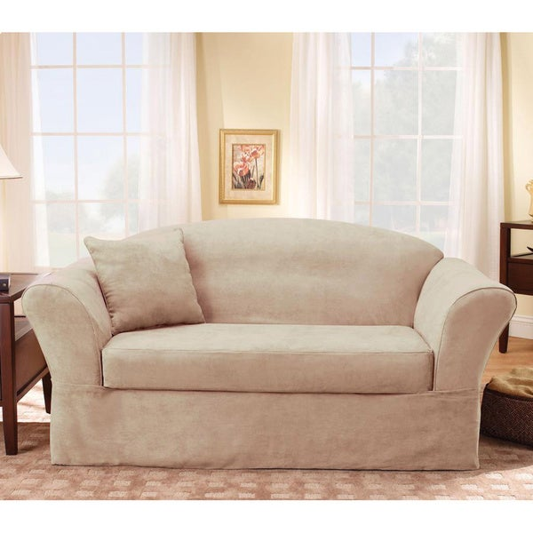 Sure Fit Suede Supreme Taupe Loveseat Slipcover Free