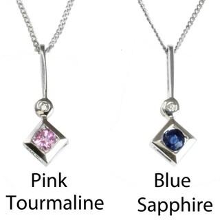 M.V. Jewels 10k White Gold Gemstone and Diamond Pendant