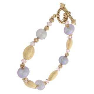 NEXTE Jewelry Goldtone Rose Freshwater Pearl Bracelet (11 mm)