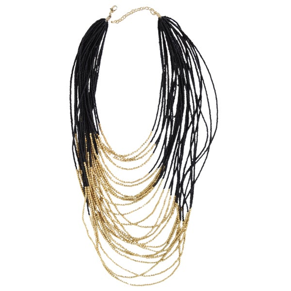 NEXTE Jewelry Black and Goldtone Bead 24-strand Necklace