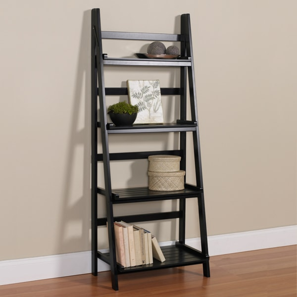 4-Tier Black Ladder Shelf Kit