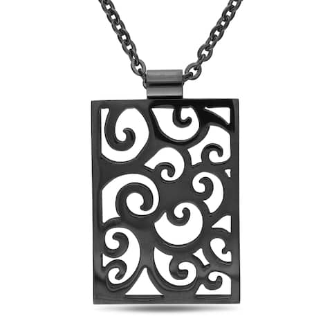 Miadora Stainless Steel Black Rhodium Necklace