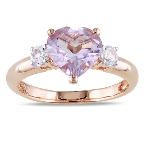 Miadora Sterling Silver Gemstone Heart Ring