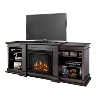Real Flame Fresno Dark Walnut 71.73 in. L x 18.98 in. D x 29.8 in. H Entertainment Center Electric Fireplace