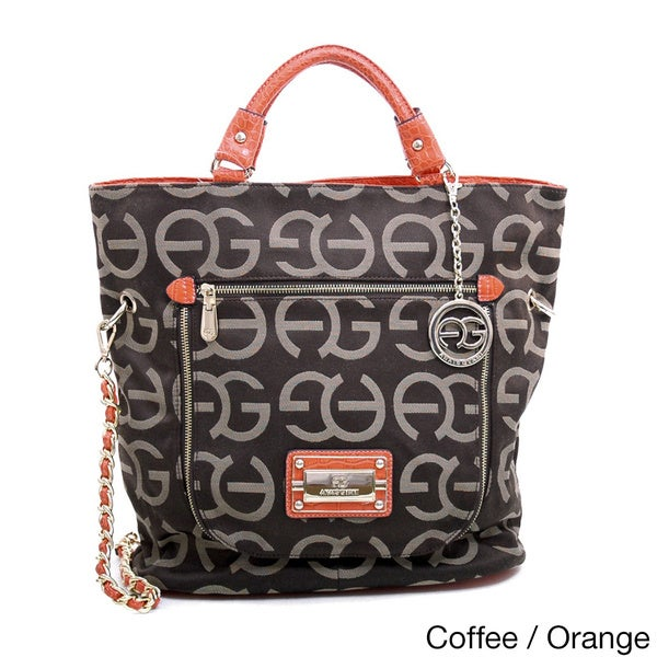 Anais Gvani Coffee Logo Fabric/ Faux Croc Shopper Bag