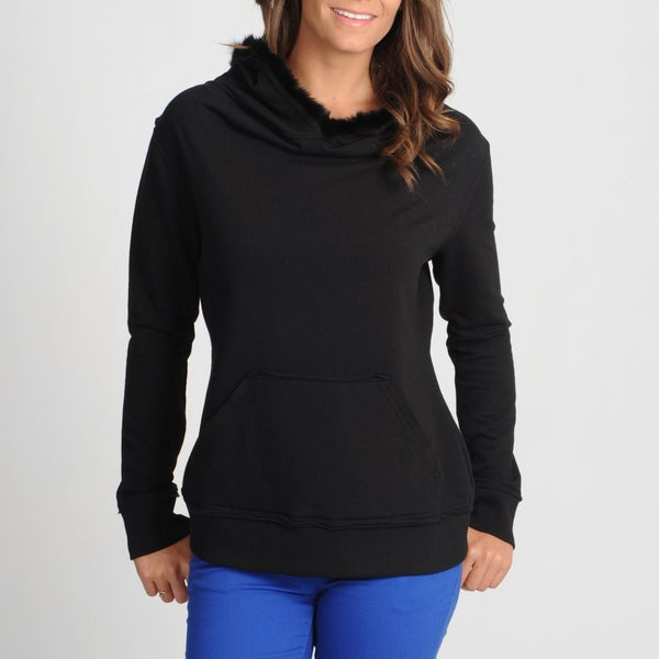 Central Park Women's Black Faux Fur Trimmed Hooded Sweatshirt