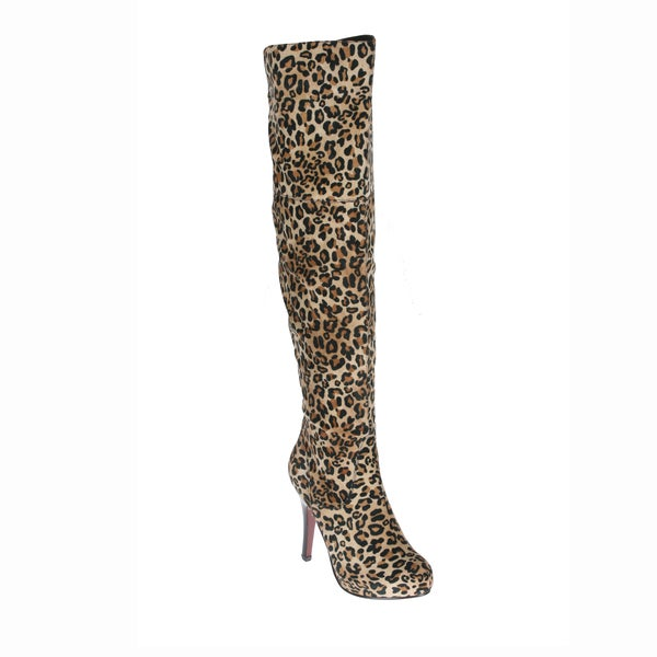 Refresh Women's 'Lana-04' Leopard Over-the-knee Boots