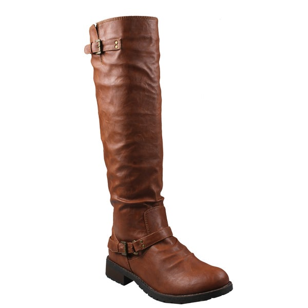 Refresh by Beston Women's 'Reba' Cognac Riding Boots