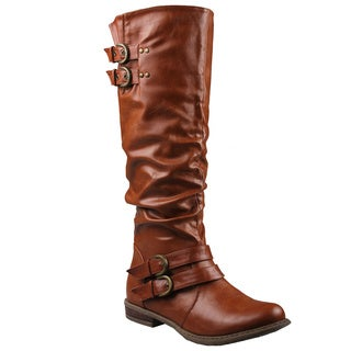 Refresh by Beston Women's 'Bailey-03' Cognac Riding Boots