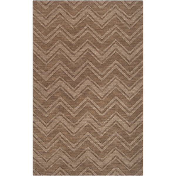Hand-crafted Solid Brown Chevron 'Granbury' Wool Rug