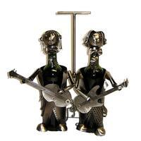 Wine Caddy Threestar Duo Guitarist Wine Bottle Holder - Steel