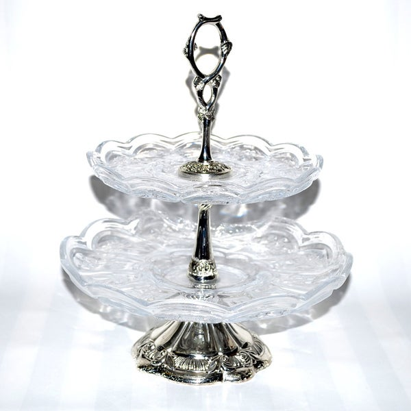 Threestar Clear Crystal / Silvertone Double-tier Serving Dish