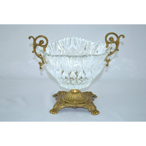 Threestar Clear Crystal with Gold Base Round Serving Bowl