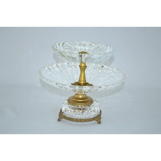 Crystal Clear Double-tier Serving Dish with Gold Base
