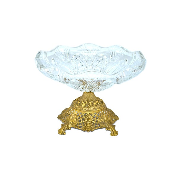 Threestar Clear Crystal/ Goldtone Footed Round Serving Bowl (8 x 11.5)