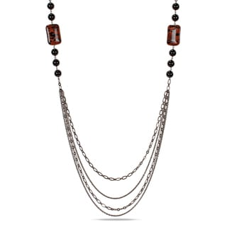 Miadora Goldtone Sand Stone and Onyx Bead Necklace