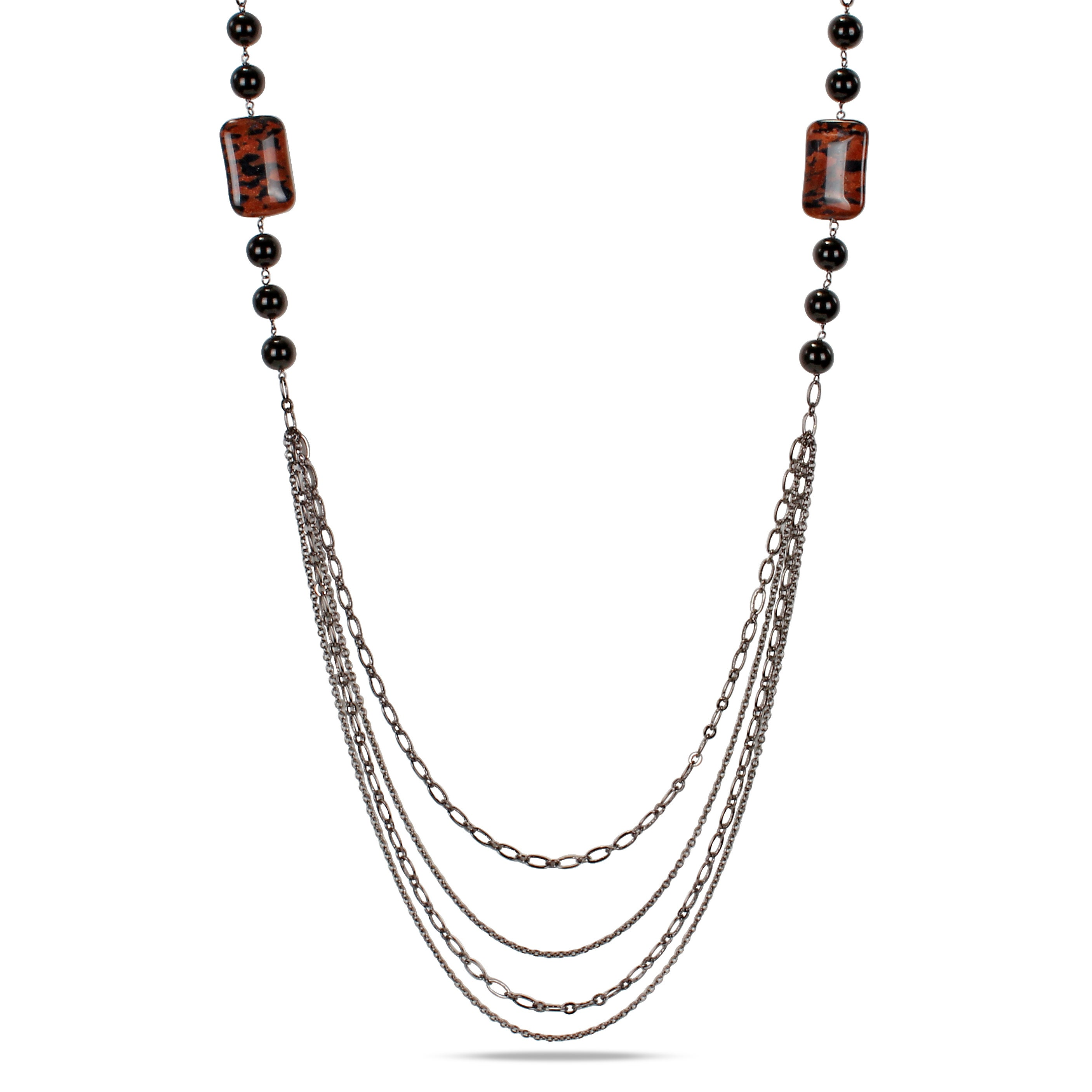 Miadora Goldtone Sand Stone and Onyx Bead Necklace, Women...