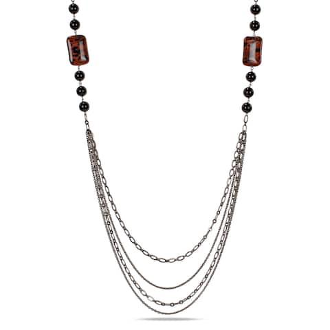 Miadora Goldtone Sand Stone and Onyx Bead Necklace