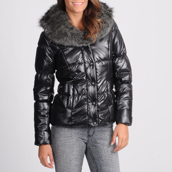 Women's Black Metallic Puffer Jacket