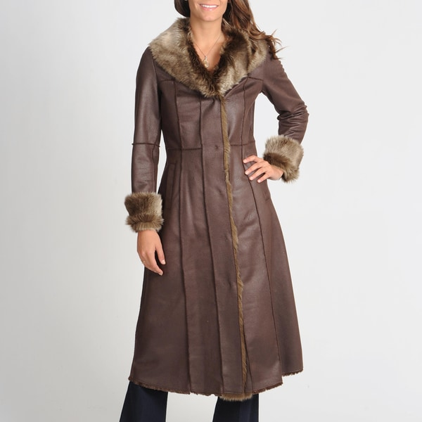 Women's Brown Faux Shearing Coat with Faux Fur Trim
