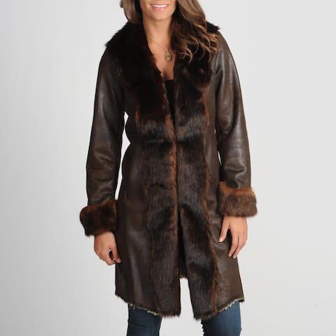 Women's 'Byrne' Brown Faux Fur Trimmed Coat