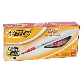 Bic Ultra Round Stick Grip Medium Point Ballpoint Pens (Pack of 12)