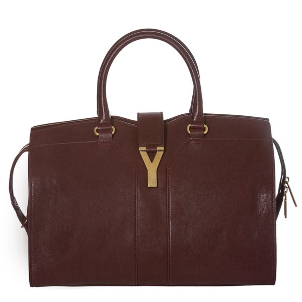 Yves Saint Laurent 'Cabas ChYc' Burgundy Leather Medium Tote Bag