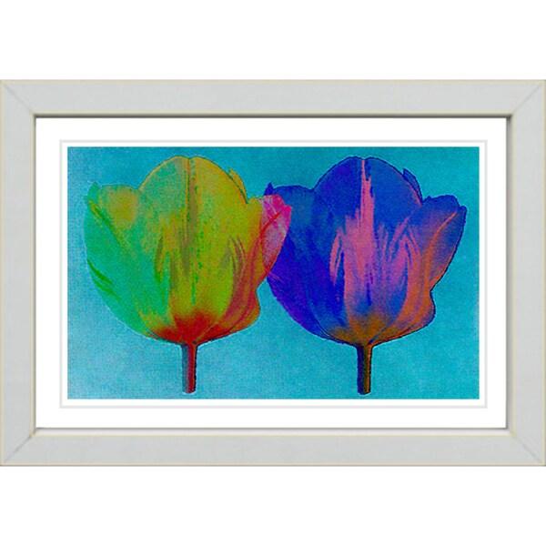 Studio Works Modern 'Twin Tulips - Green Blue' Framed Giclee Print