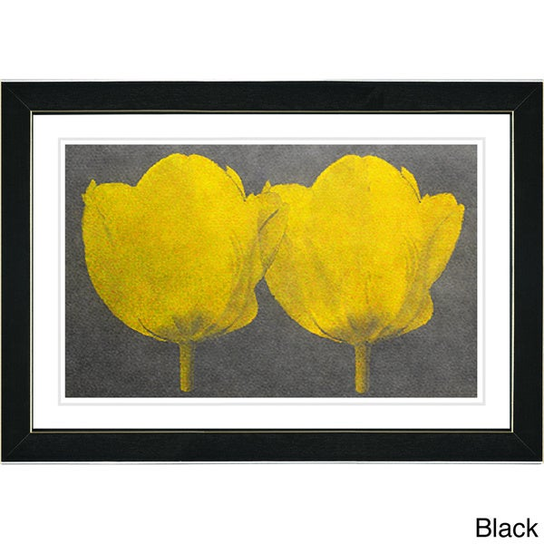 Studio Works Modern 'Twin Tulips - Yellow' Framed Giclee Print