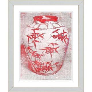 Studio Works Modern 'Red Bamboo Urn' Framed Print
